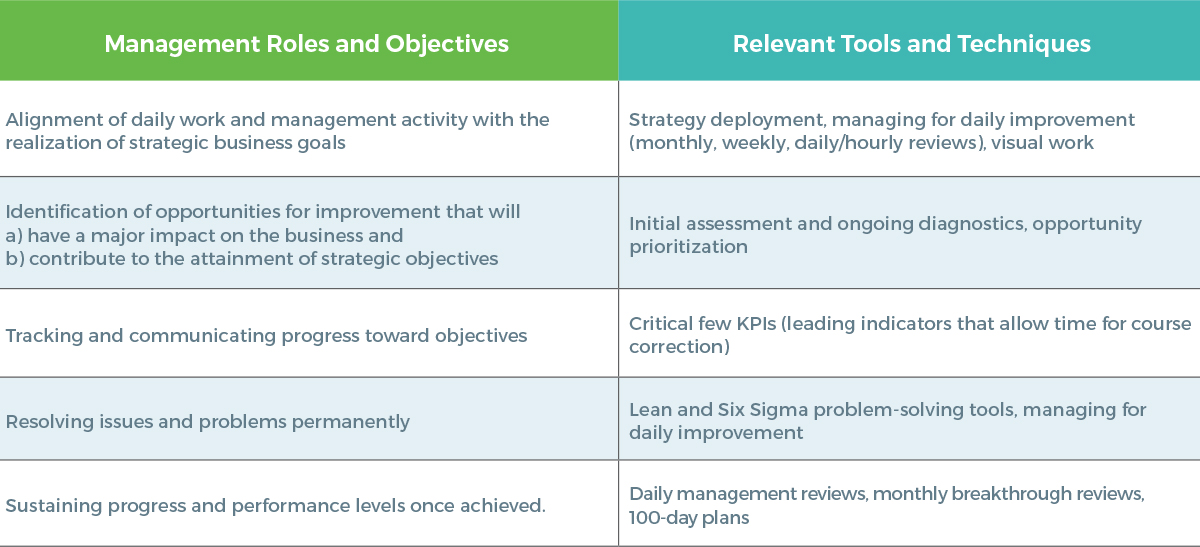 Management Objectives Supported by the TBM Management System